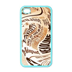 Abstract Newspaper Background Apple Iphone 4 Case (color)