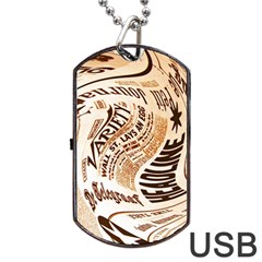 Abstract Newspaper Background Dog Tag Usb Flash (two Sides)