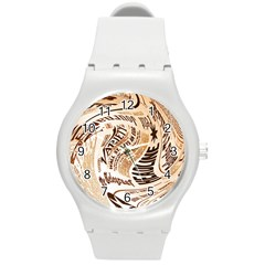 Abstract Newspaper Background Round Plastic Sport Watch (m)