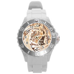 Abstract Newspaper Background Round Plastic Sport Watch (l)
