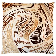 Abstract Newspaper Background Large Cushion Case (one Side)