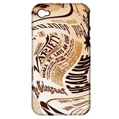 Abstract Newspaper Background Apple Iphone 4/4s Hardshell Case (pc+silicone)