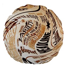 Abstract Newspaper Background Large 18  Premium Round Cushions