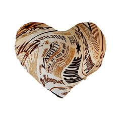 Abstract Newspaper Background Standard 16  Premium Heart Shape Cushions