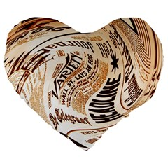 Abstract Newspaper Background Large 19  Premium Heart Shape Cushions