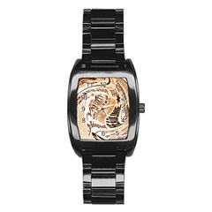 Abstract Newspaper Background Stainless Steel Barrel Watch