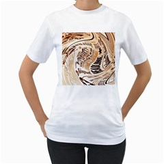 Abstract Newspaper Background Women s T Shirt (white)