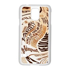 Abstract Newspaper Background Samsung Galaxy S5 Case (white)