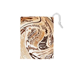 Abstract Newspaper Background Drawstring Pouches (small)
