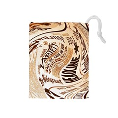 Abstract Newspaper Background Drawstring Pouches (medium)