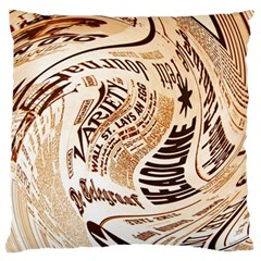 Abstract Newspaper Background Large Flano Cushion Case (two Sides)