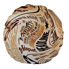 Abstract Newspaper Background Large 18  Premium Flano Round Cushions