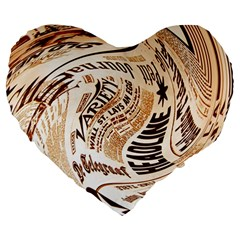 Abstract Newspaper Background Large 19  Premium Flano Heart Shape Cushions