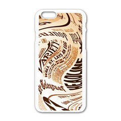 Abstract Newspaper Background Apple Iphone 6/6s White Enamel Case