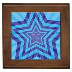 Abstract Starburst Blue Star Framed Tiles