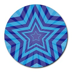 Abstract Starburst Blue Star Round Mousepads