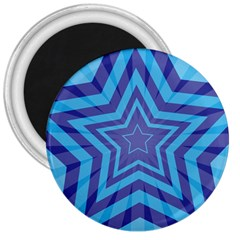 Abstract Starburst Blue Star 3  Magnets