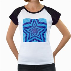 Abstract Starburst Blue Star Women s Cap Sleeve T
