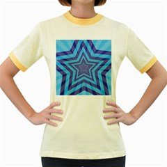 Abstract Starburst Blue Star Women s Fitted Ringer T Shirts