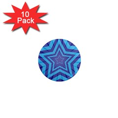 Abstract Starburst Blue Star 1  Mini Magnet (10 Pack)
