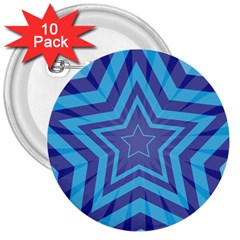 Abstract Starburst Blue Star 3  Buttons (10 pack)