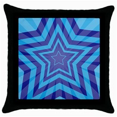 Abstract Starburst Blue Star Throw Pillow Case (black)