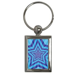 Abstract Starburst Blue Star Key Chains (rectangle)