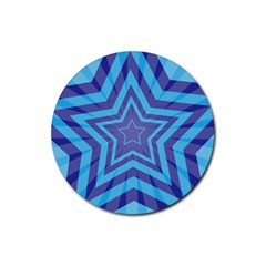 Abstract Starburst Blue Star Rubber Round Coaster (4 Pack)