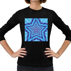 Abstract Starburst Blue Star Women s Long Sleeve Dark T Shirts