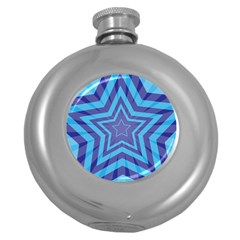 Abstract Starburst Blue Star Round Hip Flask (5 Oz)