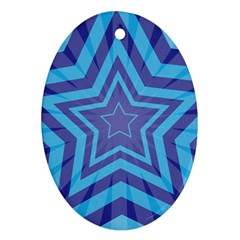 Abstract Starburst Blue Star Oval Ornament (two Sides)
