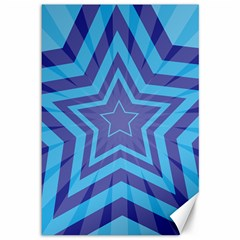 Abstract Starburst Blue Star Canvas 12  X 18