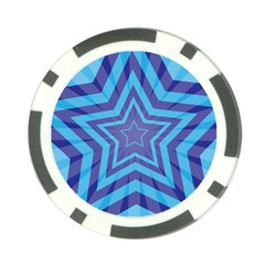 Abstract Starburst Blue Star Poker Chip Card Guard