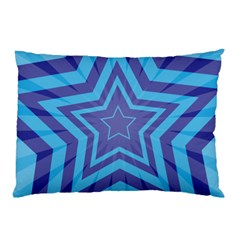 Abstract Starburst Blue Star Pillow Case