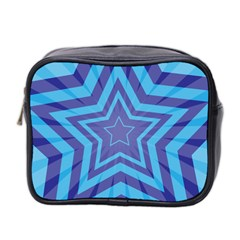 Abstract Starburst Blue Star Mini Toiletries Bag 2 Side