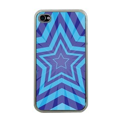 Abstract Starburst Blue Star Apple Iphone 4 Case (clear)