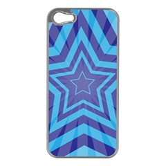 Abstract Starburst Blue Star Apple Iphone 5 Case (silver)
