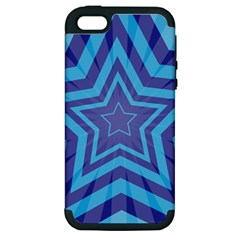 Abstract Starburst Blue Star Apple Iphone 5 Hardshell Case (pc+silicone)