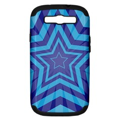 Abstract Starburst Blue Star Samsung Galaxy S Iii Hardshell Case (pc+silicone)