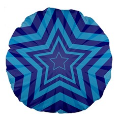 Abstract Starburst Blue Star Large 18  Premium Round Cushions