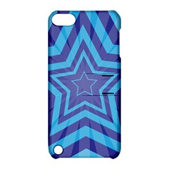 Abstract Starburst Blue Star Apple Ipod Touch 5 Hardshell Case With Stand