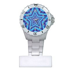 Abstract Starburst Blue Star Plastic Nurses Watch