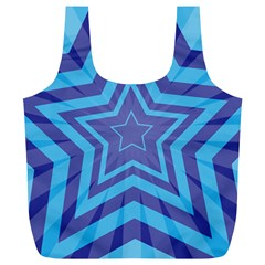 Abstract Starburst Blue Star Full Print Recycle Bags (l)