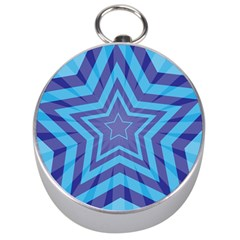 Abstract Starburst Blue Star Silver Compasses