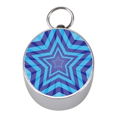 Abstract Starburst Blue Star Mini Silver Compasses