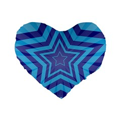 Abstract Starburst Blue Star Standard 16  Premium Flano Heart Shape Cushions