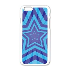 Abstract Starburst Blue Star Apple Iphone 6/6s White Enamel Case
