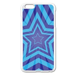 Abstract Starburst Blue Star Apple Iphone 6 Plus/6s Plus Enamel White Case