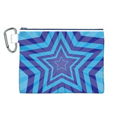 Abstract Starburst Blue Star Canvas Cosmetic Bag (l)