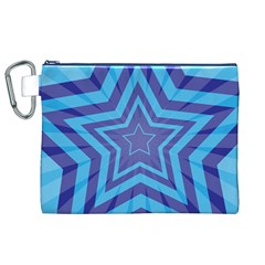 Abstract Starburst Blue Star Canvas Cosmetic Bag (xl)